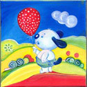 Doggy: Original painting by MJS, 2013. Acrylic on canvas 20x20 cm. Without frame. Price: 45 Euros