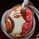 065 - Hand painted stone as Pendant Necklace - Price : 35 Euros
