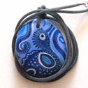091- Hand painted stone as Pendant Necklace - Price : 42 Euros