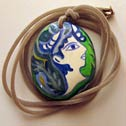 107 - Hand painted stone as Pendant Necklace - Price : 45 Euros - Minoan figure - Dim: Stone: 4,9 x 4,1 x 1,8 cm..