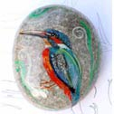 Bird - Hand painted stone as  Paperweight - Dim: 7,5 x 5,5 x 2,5 cm. Price: 45 Euros